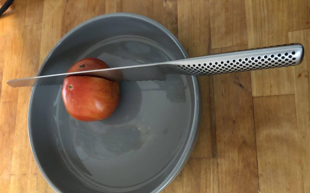 A Global serrated tomato knife.