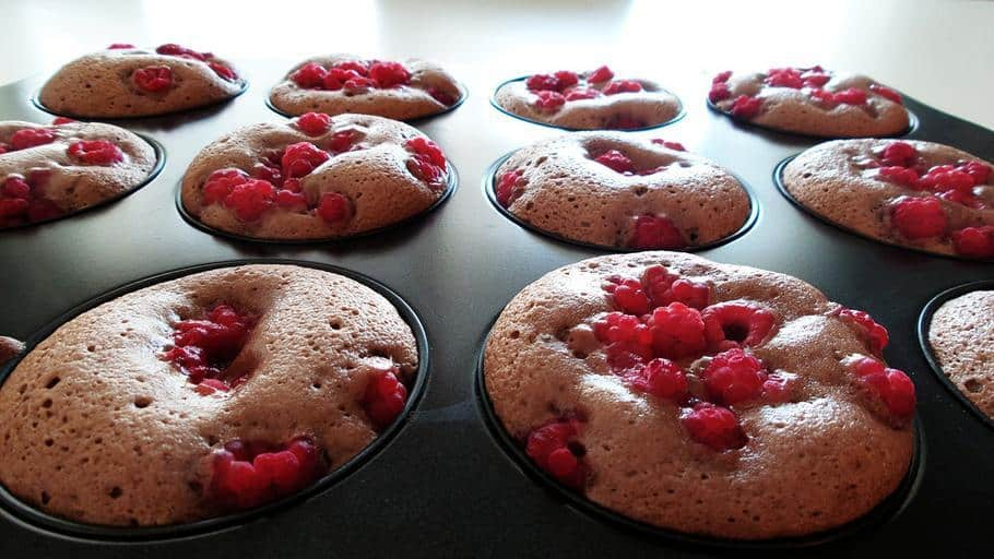 Rasberry whole wheat muffins. Baked in one of the best nonstick muffin pans.