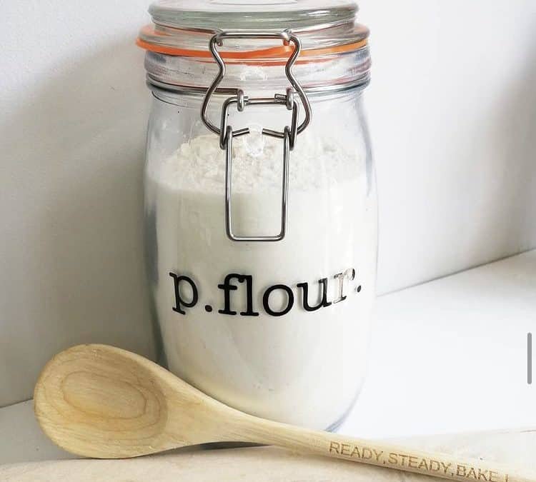 The best glass flour jar, with a metal clasp.
