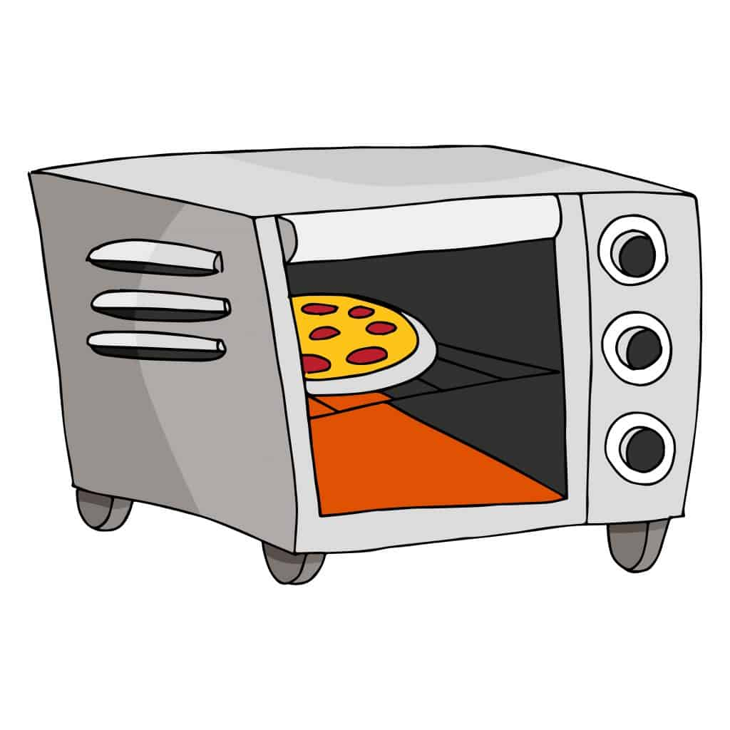 A small pie in a toaster oven, with a few extra toaster oven accessories.