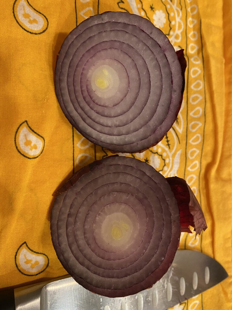 Can you chop onions in a food processor? Yes, cut them in half like this red onion on a yellow towel.