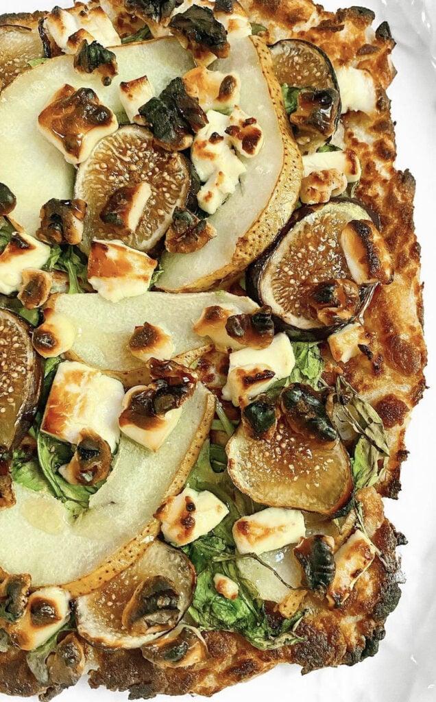 Frozen figs on flat bread pizza.